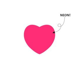 Sticker hart | neon roze | 28mm | 15stk