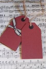Dikke kartonnen labels rood large / 6 stks / EI