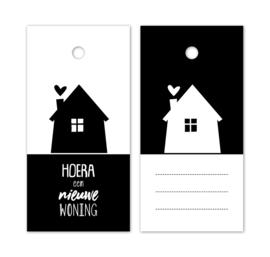 Kado label - kaartje /zwartwit | Hoera een nieuw woning | 5stk