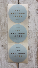 Stickers / You are so Loved / blauw / 20stk