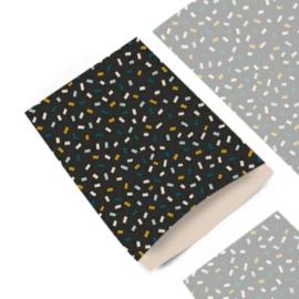 Zakje multi confetti dark grey   12x19cm   5stk