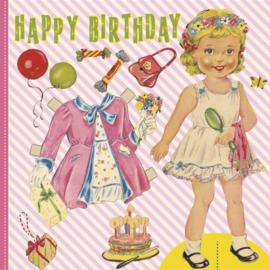 Kaart - Happy Birthday - Dress up girl | inclusief envelop