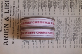 "EI 3187 Band 3 meter spoel creme / rood /""merry christmas"""