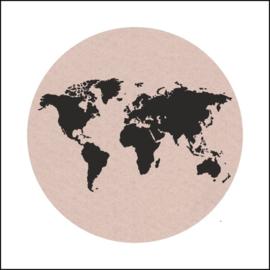 Sticker / wereldbol / sand / 5stk