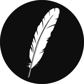 Sticker sluitzegel - rond zwartwit | veer | 35mm | 10stk