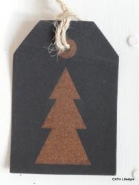 Label zwart Kerstboom koper / 5stk