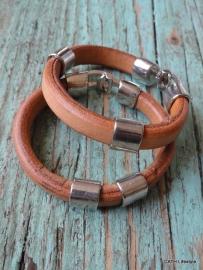 BIBA Armband / naturel leer met zilverkleurige sluiting