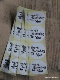 "Sticker zwart/wit tekst - ""Happy Birthday to You"" / 20 stk"