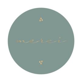 Sticker sluitzegel rond groen  | merci  | 55mm | 12stuks