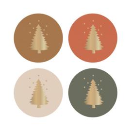 Stickers rond mix- kerst | Kerstboom goud foil | 35mm | 12stk