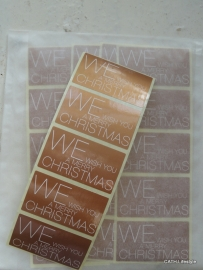 "Sticker ""We wish You a Merry Christmas"" brons / 20stk"