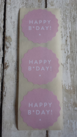 Stickers / Happy B*Day roze / 10 stks