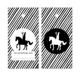 Label wit gestreept -Sint  op paard | 5 stk