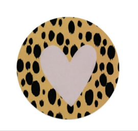 Sticker sluitzegel okergeel met hart | 5cm | 10stuks