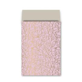 Zakje fine fleur - roze goud zand - 17x25cm - 5stuks