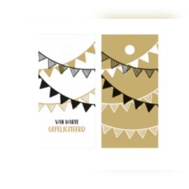 Kado label kaartje  - van harte gefeliciteerd- vlaggetjes- 5stk