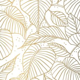Vloeipapier - tissuepapier - Lovely Leaves | gold | 50x70cm | 5stk