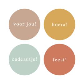 Sticker rond 4kleuren mix mini kleur & tekst NL | 35mm | 12stk