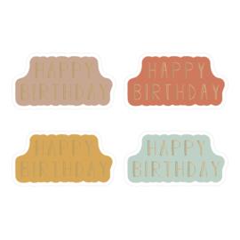 Slicker sluitzegel Happy Birthday mix 4 kleuren nw | 12stk