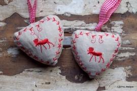 Hart met rood rendier
