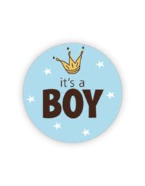 Sticker - rond blauw - It's a BOY - kroontje | 35mm | 10stk