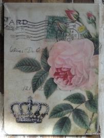 Vintage Schrijf / notitie blokje Rose/Crown