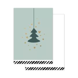 Klein kaartje - vintage  kerst - kerstboom