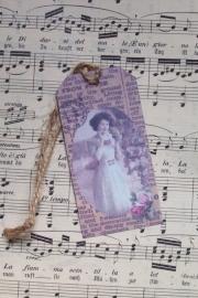 Label / vintage dame met roosjes