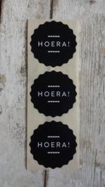 Stickers / HOERA zwart / 20stuks