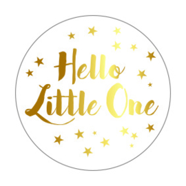 Sticker sluitzegel rond wit | hello little one - goud folie | 10stk