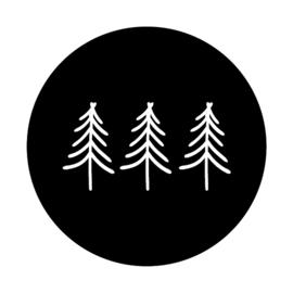 Stickers rond zwart - 3 kerstboompjes   45mm   10stk