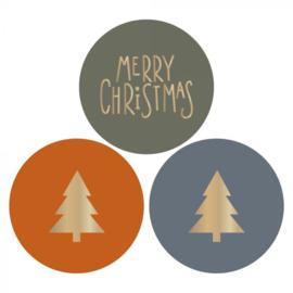 Sticker sluitzegel mix - kerst - Kerstboom / Merry Christmas | 55mm | 12stk