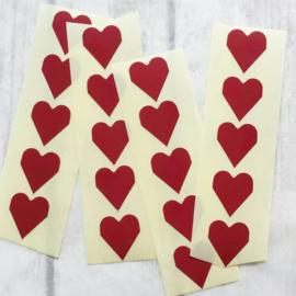 Sticker / hartje / 2cm / bordeaux  / 20 stk