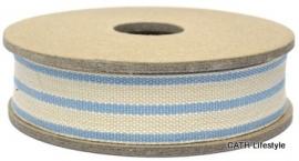 EI 2327 Band 3 meter spoel streep creme pale blauw