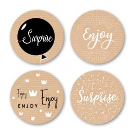 Sticker sluitzegel mix - surprise / enjoy | 40mm | 16stk