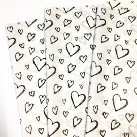 Vloeipapier - tissuepapier | Harten | 50x75cm | 5 stuks