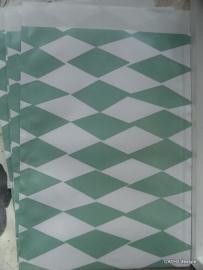 Vlakke zakjes /  Harlequin square mint / 5 stk