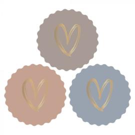 Sticker sluitzegel | cool painted hart goud foil | 55mm| 12stk