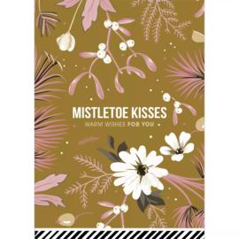 Kerstkaart - vintage goud | Mistletoe Kisses