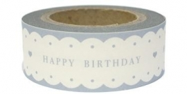 "Paper tape ""HAPPY BIRTHDAY"" wit met grijze tekst / EI 4755"