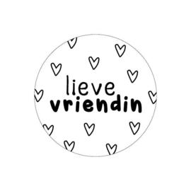 Sticker rond wit - Lieve Vriendin | 40mm | 20stk