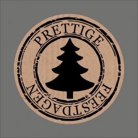 "Sticker kraft ""Prettige Feestdagen"" Kerstboom / 20 stk"