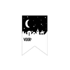 Sticker sluitzegel vaantje  Sint zwart-wit | voor .... | 10stk