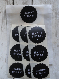 Stickers / Happy B*Day zwart / 10 stks