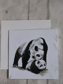 Dubbele kaart - Panda met jong