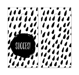 Kado label - kaartje /zwartwit | succes | 5stk
