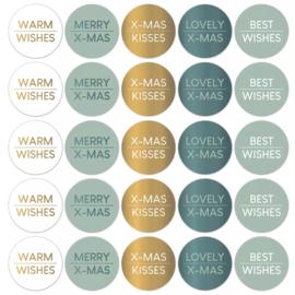 Stickers sluitzegels - kerstwensen - cool   10stk
