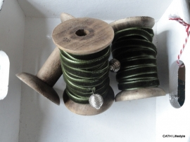 Veloursband / Groen op klos / 5m