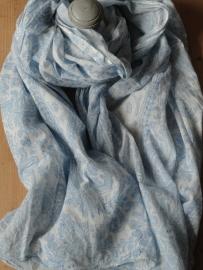 Sjaal / Tapas wit-blauw