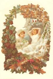 Kaart / Kerstkaart / Winterkinderen romantisch/ ME